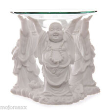 Decorative White Chinese Laughing Buddha Home Oil Burner with Glass Dish BUD183