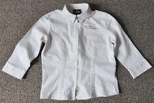 HARLEY-DAVIDSON-Ivory-3/4 Sleeve-Double Zip-Collared-Cotton Jacket-Women's Large