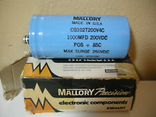 MALLORY CG102T200V4C Large Can Electrolytic Capacitor 1000MFD 200VDC ~NOS