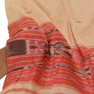 Sanskriti Vintage Dupatta Long Stole Cotton Cream Sambalpuri Hand-Woven Ikat
