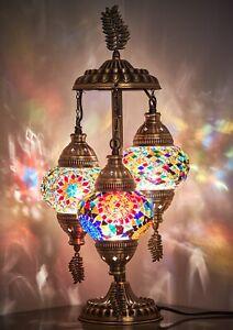 3 Globes Turkish Moroccan Mosaic Bohemian Boho Colorful Table Bedside Lamp Light
