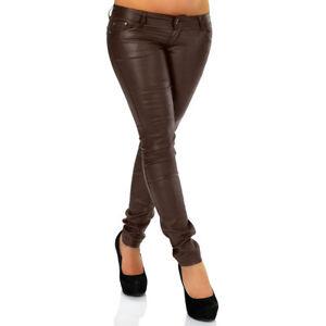 Sexy Skinny Damen Jeans im Lederlook Röhrenjeans Braun PU Gr. 36 38 40 S M L Neu