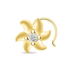 WOMEN'S NOSE PIN 14K YELLOW GOLD FINISH 925 STERLING SILVER FLOWER SOLITAIRE CZ