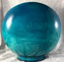 Blue Flambe Mid Century Art Pottery Moon Vase Weed Ceramic Art Deco Disc Round