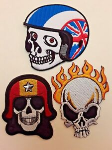 MOTORBIKERS SKULLHEAD HELLS ANGELES EMBROIDERED IRON/SEW ON PATCHES x 3UK SELLER