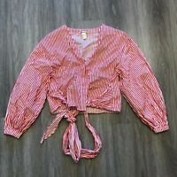 H&M Womens Size 14 Tie Front Striped Blouse Button Top 100 Cotton Red White