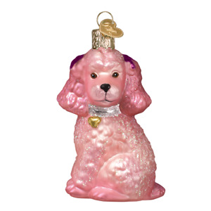 Old World Christmas PINK POODLE (12513)N Glass Ornament w/ OWC Box