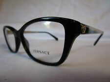 VERSACE EYEGLASS FRAME VE3236 GB1 BLACK GOLD TONE ACCENT 54-16-140 NEW AUTHENTIC