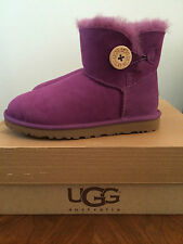 UGG Womens 5 Mini Bailey Button Purple Sheepskin Winter Boots 3352 SGPL Youth 3
