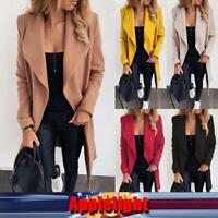 Women Winter Jacket Overcoat Woolen Trench Cardigan Coat Long Sleeve Blazer Top