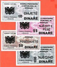 Yugoslavia,Kosovo complete set of 4 banknotes (10-100) in 1999.-UNC