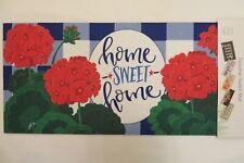 """""""home SWEET home"""" Geraniums, Blue, Sassafras Rug Insert Switch Door Mat 10x22"""