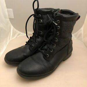 UGG Kesey Sherpa Lined Leather Wool Combat Boots Size 8 Waterproof Lace & Zipper