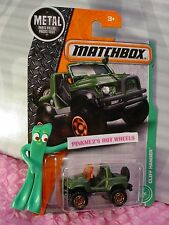#108  CLIFF HANGER☆flat army green/orange jeep☆EXPLORERS☆2017 MATCHBOX Case J