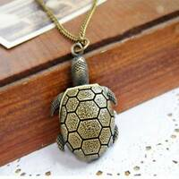 Charming  Retro Vintage Bronze Turtle Pendant Necklace Quartz Chain Pocket Watch