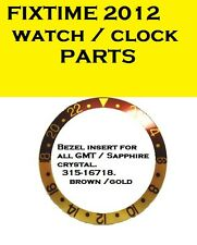 BEZEL & INSERT  BROWN/GOLD for all GMT ROLEX 16718 w Sapphire Crystal .Free Ship