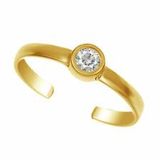 Real Solid 14k Yellow Gold Adjustable Bezel Set Brilliant Cut CZ Toe Ring
