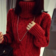 Women Sweater Chunky Jumper Cable Knitted Turtleneck Pullover Top Cashmere-like