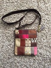 Authentic Coach Patchwork Swing Pack Cross Body #10439 Leather-Canvas