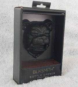 BLKSMITH Metal Black Bulldog Bottle Opener Cast Iron with Screws New in Box