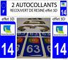 2 STICKERS RECOUVERT DE RESINE PLAQUE IMMATRICULATION DEPARTEMENT CALVADOS 14