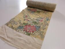 "10z690 Japanese Kimono Silk BOLT FABRIC Light brown Chrysanthemum 472.4"""