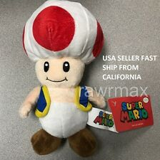 "New Nintendo Official Super Mario Toad Plush 8"" Stuffed Toy Authentic Licensed"