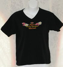 Harley Davidson V Neck Muai Hawaii Blk Womens T-Shirt Cotton Top Flowers Lg Logo