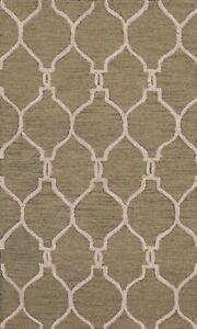 Trellis Green Ivory Modern Oriental Area Rug Hand-Tufted Wool Kitchen Carpet 3x5