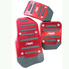 3 Pcs Universal Car Racing Foot Pedals Plate Brake Pad Cover Kit for Manual Red