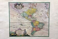 AMAZING VINTAGE ART RARE ANTIQUE MAP COLOR LITHOGRAPH OF NORTH & LATIN AMERICA