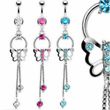 Butterfly Chain Dangle CZ Gems Belly Ring Navel Naval Clear (w612)