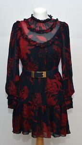 Zara Floral Chiffon Dress Size M Lined Statement sleeve Black Red