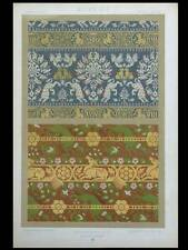 SOIERIES MOYEN AGE - LITHOGRAPHIE 1877  DUPONT-AUBERVILLE, ORNEMENT TISSUS