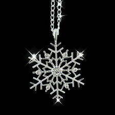 Frozen Crystal Snowflake Pendant Necklace Long 925 Silver Chain Christmas Gift