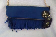 Women New Moda Luxe Leather Blue Cross Body Convertible Clutch/Handbag Fringe