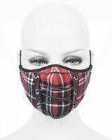 Devil Fashion Goth Punk Face Mask Cover Mouthguard Red Black Tartan Plaid Lacing