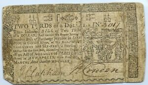 1770 Maryland $2/3 Two Thirds of a Dollar March 1 Colonial Note - MD-54