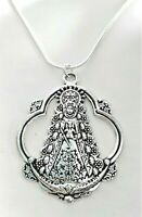 Colgante Virgen del Pilar plata tibetana con cadena 42 cm de largo mas 5 cm