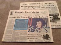 2 ELVIS Presley Day After Death Newspaper Memphis Press & The Commercial Appeal
