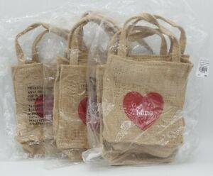 NEW Set of 5 Pottery Barn Kids VALENTINE BURLAP TREAT BAGS Favor Be Mine Hearts
