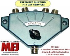 MFJ-1704 Antenna Switch 4 Position 0-450 MHz, With Ground & Lightning Protection