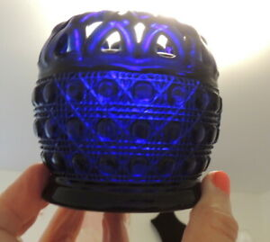 Cobalt Blue Glass Candle Holder Pressed Glass Reticulated
