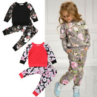 Toddler Kids Baby Girls Floral Tracksuit T-shirt Tops +Pants Outfits Set Clothes