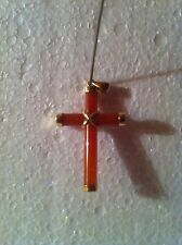 14KT YELLOW GOLD~~~RED JADE (Chinese Culture) CROSS PENDANT & FREE CHRISTMAS CD