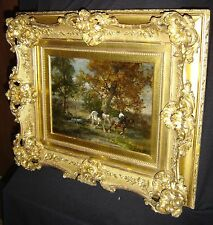 Antique French Barbizon School Charles Emile Jacque Boy And Horses Painting Rare