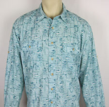 LL Bean Nylon shirt long sleeve button front casual fish tikis Mens Size XL
