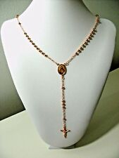 rose gold plated necklace jesus 9k religious rosary bead cross women girl r1