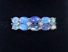 Chunky 9ct Gold Opal & Diamond Two Row Half Eternity Ring, Size N1/2