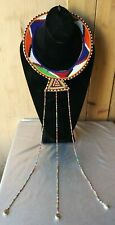AFRICAN TRIBAL JEWELRY BEADED RAWHIDE LEATHER CHOKER/ COLLAR/ NECKLACE. .